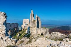 Abandoned ruins of medieval Plavecky castle in autumn. Abandoned ruins of medieval Plavecky castle  in autumn Royalty Free Stock Images