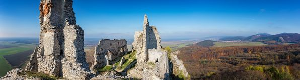 Abandoned ruins of medieval Plavecky castle in autumn. Abandoned ruins of medieval Plavecky castle  in autumn Stock Image