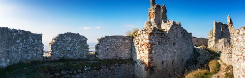 Abandoned ruins of medieval Plavecky castle in autumn. Abandoned ruins of medieval Plavecky castle  in autumn Royalty Free Stock Photography