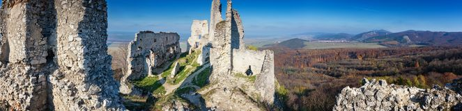 Abandoned ruins of medieval Plavecky castle in autumn. Abandoned ruins of medieval Plavecky castle  in autumn Stock Photography