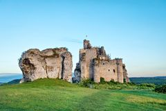Abandoned ruins of 14th-century Mirow Castle, Poland. Abandoned ruins of 14th-century Mirow Castle, Silesian Voivodeship, Poland royalty free stock images