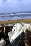 Abandoned running shoe on a rocky beach in Ireland Stock Image