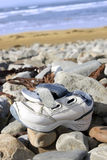 Abandoned running shoe on a rocky irish beach Stock Image