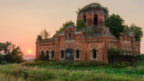 Abandoned rural church in the evening Stock Images