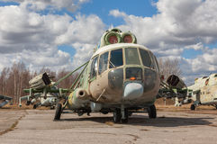 Abandoned Russian military-transport  helicopter Stock Photos