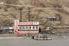 The abandoned russian mining town Pyramiden in Svalbard, Spitsbe Royalty Free Stock Image