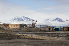 The abandoned russian mining town Pyramiden in Svalbard, Spitsbe Stock Image