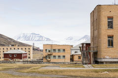 The abandoned russian mining town Pyramiden in Svalbard, Spitsbe Royalty Free Stock Photography