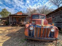 Abandoned, rusted truck, outside of a ghost town. Murrayville, GA. royalty free stock photo