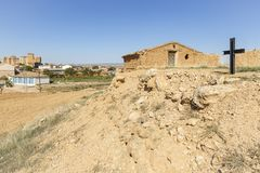 Rustic house made of clay and a cross - suburb of Cetina. Abandoned rustic house made of clay and a cross - suburb of Cetina town, province of Zaragoza, Aragon stock image