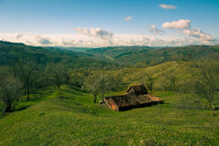 Abandoned rustic small dairy farm on the hill Royalty Free Stock Image