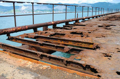 Abandoned and rusty bridge Royalty Free Stock Images