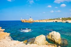 Abandoned rusty ship wreck EDRO III in Pegeia, Paphos, Cyprus. royalty free stock images
