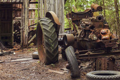 Abandoned rusty tractor Stock Images