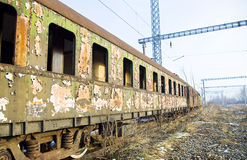 Abandoned rusty train. Picture of a destroyed, abandoned, old and rusty train Stock Image