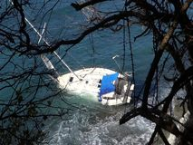 A yacht aground on a reef in the Caribbean stock video