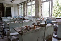 Abandoned school. Chernobyl disaster results. This is chemistry classroom in abandoned school in small city Pripyat (about 5 kilometers form the Chernobyl Stock Photo