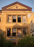 Abandoned school building. Low angle view of abandoned school building in Detroit City, Michigan, U.S.A stock image