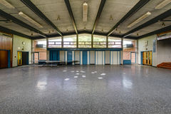 Abandoned School Cafeteria and Stage Stock Images
