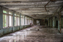 Abandoned school hall in Pripyat Royalty Free Stock Photography