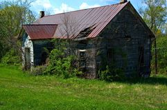 Abandoned School House. In Fredrick, Maryland, still standing since 1886, tin roof Stock Image