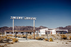 Abandoned school on the Route 66 Stock Image