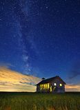 Abandoned Schoolhouse And Milky Way Royalty Free Stock Image