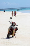 Abandoned Scooter On A Beach In Zanzibar Stock Photos