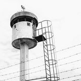 Abandoned sentry box tower isolated by a net with barbed wire. Royalty Free Stock Images