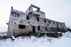 Abandoned settlement winter view Royalty Free Stock Photo