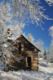 Abandoned shack in farmland with winter snow Royalty Free Stock Images