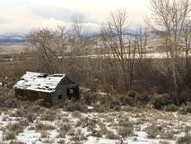 Abandoned shack in Salmon Idaho stock photo