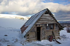 Abandoned shelter in winter mountains, Slovakia Stock Images