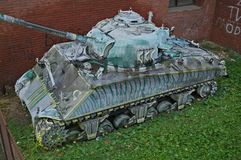 Abandoned Sherman Tank Wreck in Novi Sad, Serbia Stock Images