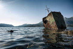 Abandoned ship Bokelj Stock Image