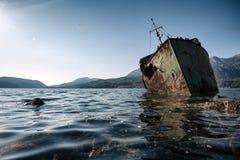 Abandoned ship Bokelj. Photo of Abandoned ship near Rose, Montenegro Stock Image