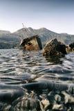 Abandoned ship Bokelj. Photo of Abandoned ship near Rose, Montenegro Stock Photos