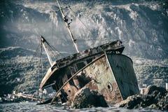 Abandoned ship Bokelj. Photo of Abandoned ship near Rose, Montenegro Royalty Free Stock Photography