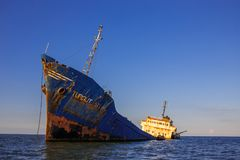 The abandoned ship in the Danube delta. Turgut Usta, ship in the Danube delta Royalty Free Stock Photography