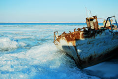 Abandoned ship in the ice Stock Photography
