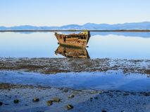 Abandoned ship in New Zealand. Abandoned ship in the coast of Motueka, New Zealand Stock Image