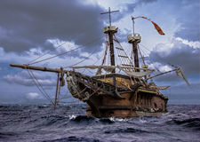 Abandoned ship. At the sea Stock Photos