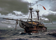 Abandoned ship at sea. Abandoned ship sailing in rough seas Royalty Free Stock Photo