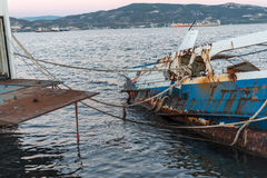 Abandoned ship wreckage. Wreckage of an abandoned ship Stock Photography