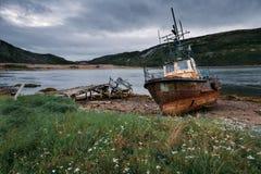 Abandoned ships near Teriberka. Russia Stock Photos