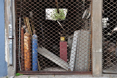 Abandoned shop asbestos products Stock Photo