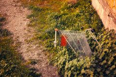 Abandoned shoping cart. Close view Royalty Free Stock Photography