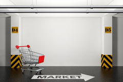 Abandoned Shopping Cart in Underground Parking Garage with Arrow. And Market Sign on floor extreme closeup. 3d Rendering Royalty Free Illustration