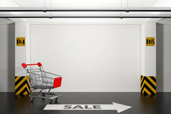 Abandoned Shopping Cart in Underground Parking Garage with Arrow. And Sale Sign on floor extreme closeup. 3d Rendering Royalty Free Illustration