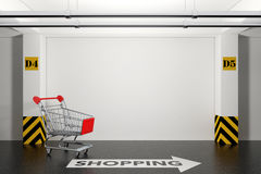 Abandoned Shopping Cart in Underground Parking Garage with Arrow. And Shopping Sign on floor extreme closeup. 3d Rendering Stock Images